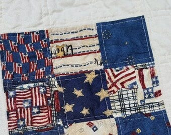 Quilted Americana Mini Quilt, Table or Candle Mat Patriotic Fiber Art Home Decor Accessory