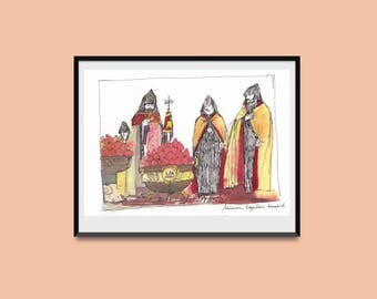 Original watercolor with photo-mount- Etchmiadzin POMEGRANATES- POMEGRANATES Blessing-Armenian cathedral-Armenia painting-armenian liturgy