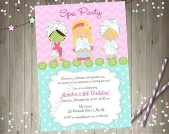 Spa Party Invitation invite spa birthday party spa birthday invitation spa day Printable CHOOSE YOUR GIRLS