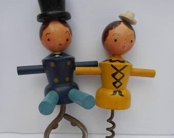 Wooden Gentleman & Lady Corkscrew and Bottle Opener, Kitschy Barware, Wooden Figural Corkscrew and Bottle Opener