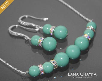 Jade Pearl Earrings&Necklace Set Swarovski Jade Pearl Silver Set Light Teal Pearl Set Mint Jade Green Blue Wedding Jewelry Set Bridal Sets