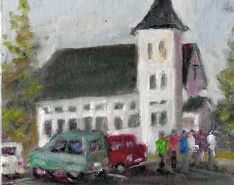 Original Oil Painting landscape 8x8 White church people cars Califon NJ