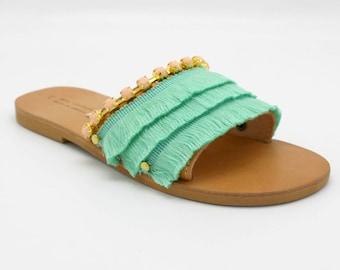 Embellished Womens Greek Leather fringed slides,10 colours, mint green sandals, pink sandals, sandales aux franges, sandales createur