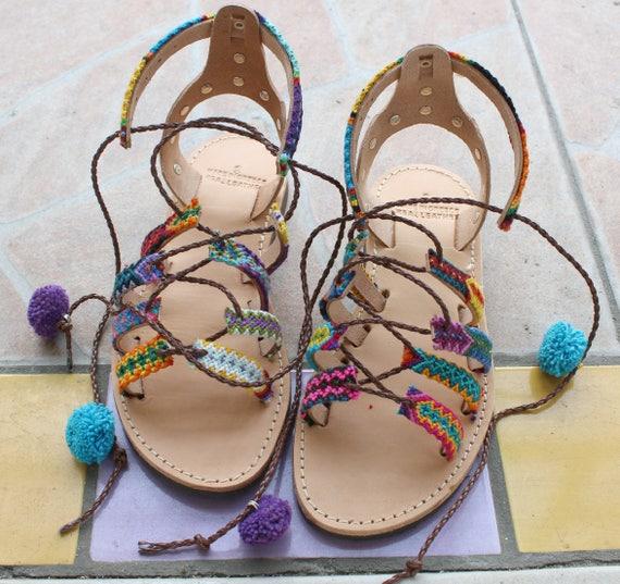 SALE Pompom Sandals womens sandals lace up sandals boho sandals sandales femme lacets