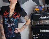 Olivia Paige -Diy shirt SLAYER concert band top shirt with front lace up