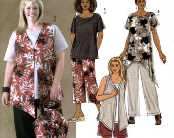 Butterick B4203 Sewing Pattern for Women's / Women's Petite Vest, Top, Shorts and Pants - Uncut - Sizes 28W-30W-32W