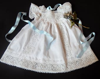 Vintage Victorian Era French Handmade Baby Dress Lots of Hand Embroidery