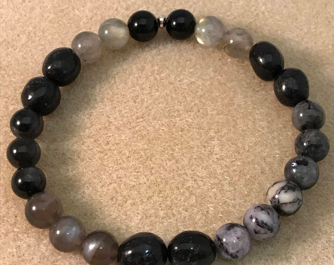 MERLIN MAGIC 8mm Bracelet: Black Tourmaline, Labradorite, Nuummite, Black Moonstone, Merlinte, Arfvedsonite, Larvikite with Sterling Silver