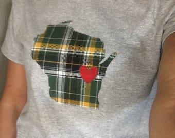 Wisconsin Packer  t-shirt, Wisconsin plaid shirt, packer shirt, Wisconsin with a heart, Applique t-shirt, adult t-shirt