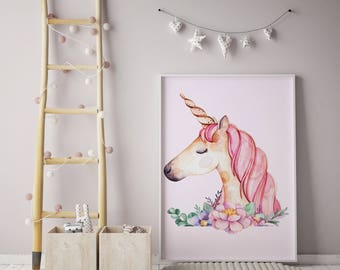 Unicorn print | children's prints | Unicorn | Kids wall art | Unicorn wall art | Individual print