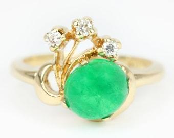 1.50tcw Colombian Emerald Cabochon & Diamond Ring 14k, Emerald Cabochon Ring, Emerald Diamond Cabochon Ring, Emerald Ring, Natural Emerald R