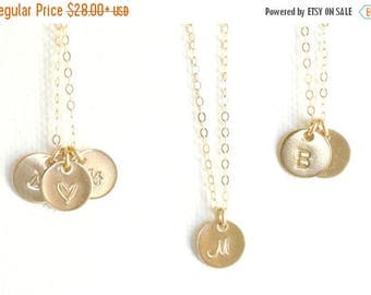SALE - GOLD Initial Necklace / Personalized Jewelry / 1 2 3 4 5 6 7 8 Initial Discs Necklace / Monogram Necklace, Mothers Necklace / Gift fo