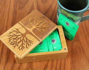 Tree of Life Pattern, Wooden Storage Box 5-3/8 x 3-3/8, Solid Cherry - Laser Engraved, Paul Szewc, Masterpiece Gallery