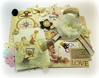 Prima French Rivera Inspiration Kit / Embellishment Kit / Vintage Ephemera for Scrapbook Layouts Cards Mini Albums Tags and Paper crafts 2