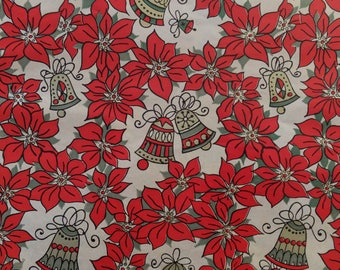 Vintage Christmas Red Poinsettas Gold Green Bells Gift Wrap Wrapping Paper