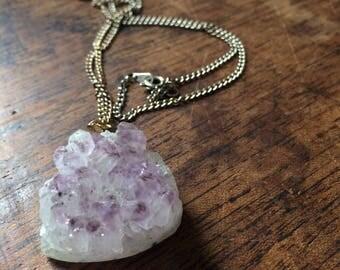 Raw Lilac Amethyst Necklace