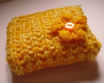 Yellow Coin Purse with Knitted Flower Decoration