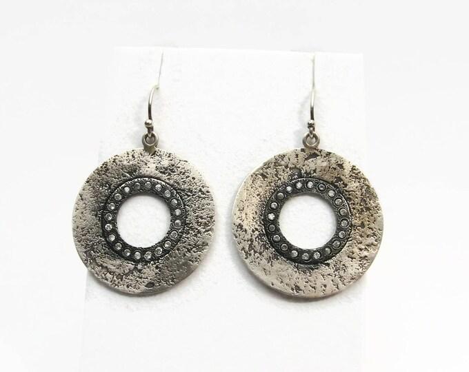 SILPADA Hammered Sterling Silver Crystal Dangle Earrings
