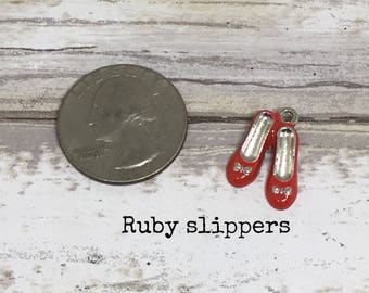 Ruby slippers charm necklace