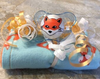 Foxy Loxy Orange Reversible Burp Cloth & Pacifier Gift Set by PiquantDesigns