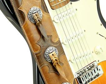 Distressed Leather Guitar Strap, Brown Guitar Strap: Doonmere Guitar Strap