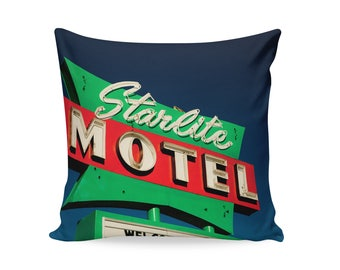 READY TO SHIP | Starlite Motel Neon Sign Pillow Cover | Travel Trailer Decor | Decorative Pillow Cover | Motel Sign | Guest Room Decor
