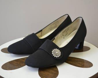 1960s Naturalizer Black Heels with Rhinestone Detail