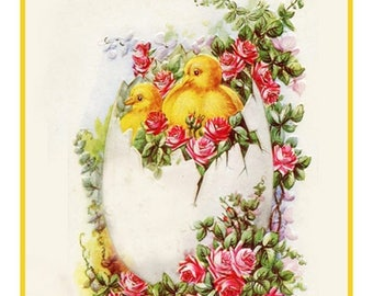 GREAT SALE Vintage Easter Chicks in an Egg Roses Counted Cross Stitch Chart / Pattern