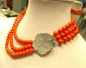 Lovely Natural CORAL 3-Strand Knotted Necklace/Choker w/Very Detailed SILVER Grey MOP Flower Carved Clasp - A Classic!