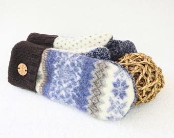 Felted Wool Mittens BLUE & BROWN Fair Isle Winter Gloves Upcycled Sweater Mitts Fleece Lined Unisex Gift Under 50 for Women Men WormeWoole