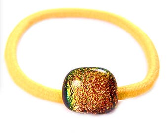 "Dichroic Ponytail Holder Rubber Band - Copper Golden Gold Yellow Dot Round Fused Glass - 1/2"" 12mm - Rubberband Small Cute Hair Accessories"