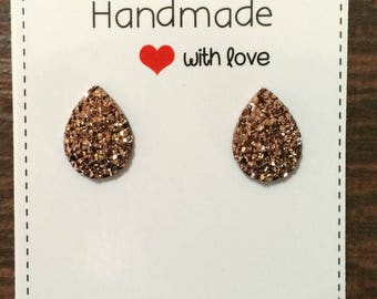Rose Gold Teardrop Stud Druzy Earrings