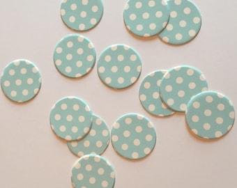 """1"""" pre-cut CIRCLE CONFETTI (100 pc)  --  Aqua Blue/White Polka Dot --  create you own garland, envelope seals, favor tags & mor"""