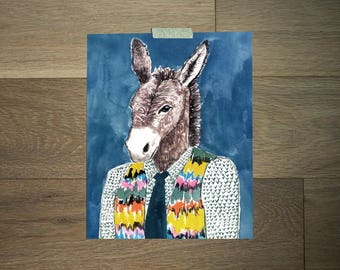 Funny Animal Art,  donkey art, donkey portrait, bohemian style, Boys Room Decor,  home wall decor, Gift Poster, College Wall Decor Art