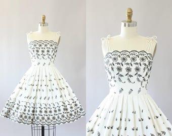 Vintage 50s Dress/ 1950s Cotton Dress/ White and Black Eyelet Cotton Dress w/ Full Skirt XS/S