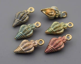 Conch Charms-10pcs Enamel Conch Charm, Sea Snail Charm, Hot Summer Charms Beach Charms Jewelry Supplies, Findings