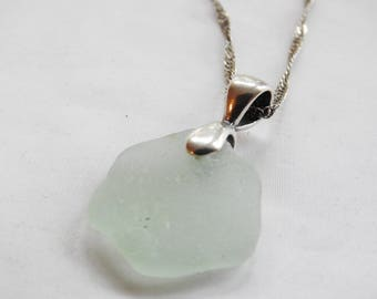 Sea Glass Jewelry, Alaskan Seaglass, Aqua Beachglass Pendant, Unisex Pendant, Genuine Sea Glass, Ocean Jewelry, Rare Seaglass Necklace