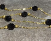 Vintage 1930s Signed Judy Lee Black Jet Glass Bead Necklace Ornate Chain Necklace Gold Plated with Jet Glass Bead