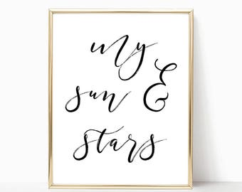 SALE -50% My Sun And Stars Digital Print Instant Art INSTANT DOWNLOAD Printable Wall Decor