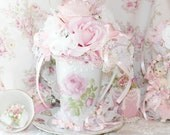 Pink Princess Victorian Marie Antoinette Glittering Jewels and Roses in Paradise Shabby Chic Rose Bridal Floral Arrangement Victorian