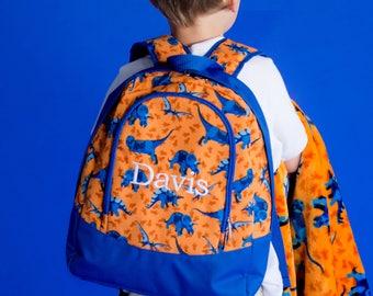 FREE monogramming - Personalized Monogrammed Preschool sized Embroidered Orange Blue Dinosaurs DINO-MITE Backpack Bookbag