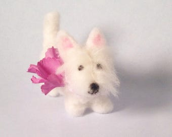 Westie figurine wearing a lavender collar with purple flower