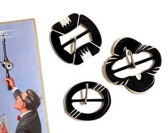 Art Deco Black and White Belt Buckles Set of Three