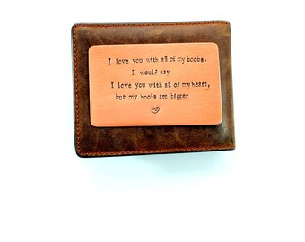 Wallet Insert Card, Copper, Funny, Boobs, Anniversary Gift, Husband Gift, Boyfriend Gift, Wife Gift, Girlfriend Gift, Aluminum, Bronze