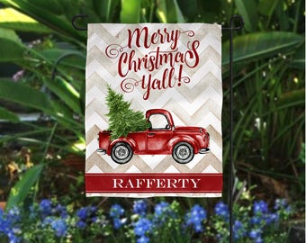 Merry Christmas Y'all Garden Flag, Personalized Garden Decor, Vintage Red Truck Yard Flag, Christmas Tree Garden Decor, Hostess gift