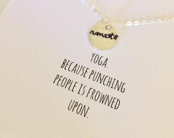 Namaste Necklace | Yoga Necklace | Yoga Jewelry | Namaste Jewelry | Funny Yoga Print | Yoga Card | Yoga Print | Namaste Charm | Yoga Gift