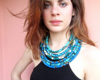 Turquoise Layered Necklace - African Print necklace- Bib Statement Necklace - Special Gift For Her