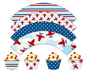 Airplane Cupcake Wrappers, Printable Cupcake Wrappers,Airplane Theme Party Decor - Instant Download-DP429