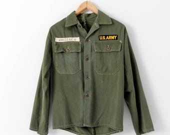 vintage US Army jacket, green canvas coat with patches