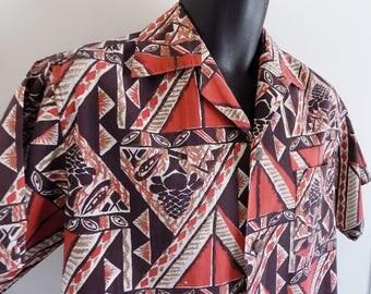 1940s-50s Rare WATUMULL and Leilani Hawaiian cotton shirt / loop collar / coconut buttons / Tiki